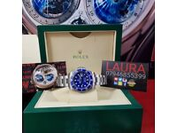 New Complete Package silverstrap blue face ceramic bezel Rolex submariner sweeping
