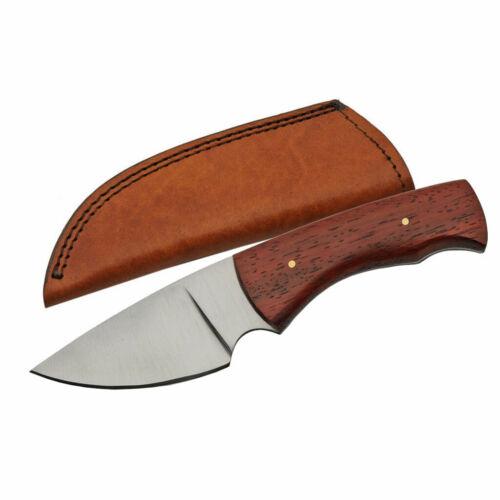 """NEW Padauk Wood Handle Knife 7.75"""" Short Blade Boline w/ Sheath"""