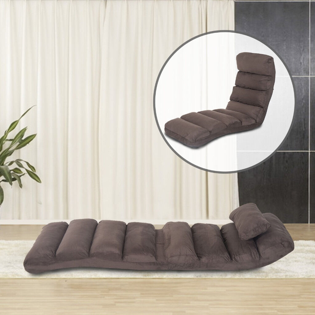 Lounge Sofa Bed Folding Adjule Floor Lounger Sleeper Futon Mattress Seat Chair W Pillow