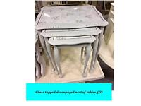 Vintage, shabby chic painted nest of tables