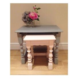 2 wooden side tables grey and pink