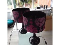 2 table lamps - height 49cm diameter 30 cm - good as new