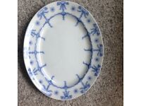 Staffordshire serving platter and matching four dinner plates in blue and white