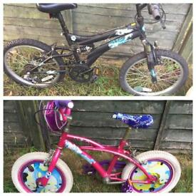 2 girl n boy children's bicycle for sale