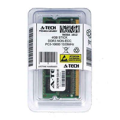 Atech 4GB SODIMM DDR3 Laptop PC3-10600 10600 1333MHz 1333 204-pin Ram Memory