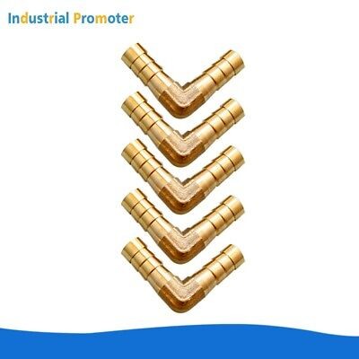 5pcs 516 Hose Barb Elbow 90 Degree Brass Pipe Fitting Gas Fuel Water Air 8mm