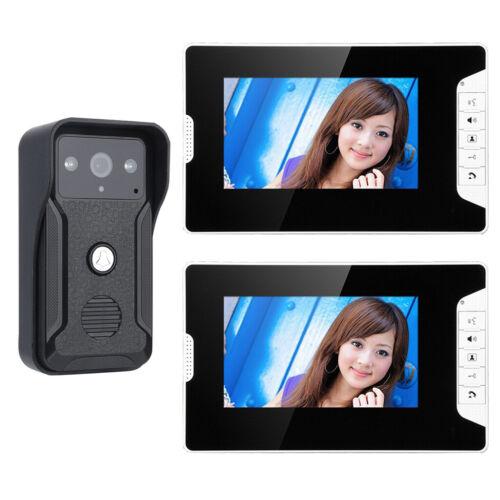 7 inch video Intercom system Video Door phone Doorbell 1000TVL Camera 2-Monitor