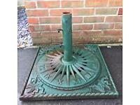 Cast iron x large Square garden parasol stand with sundial