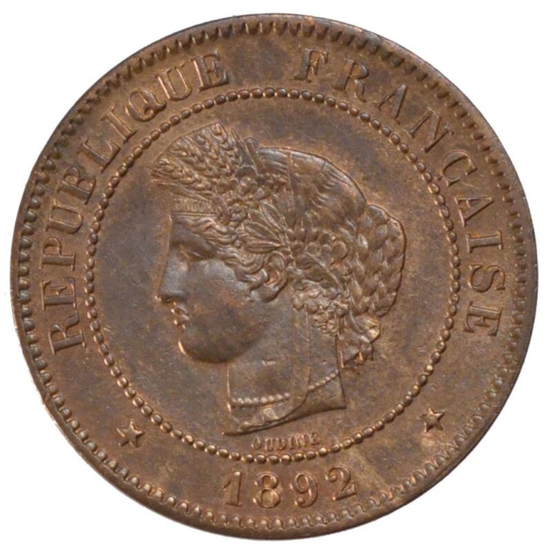 [#57472] FRANCE, Cérès, 5 Centimes, 1892, Paris, KM #821.1, MS(60-62), Bronze