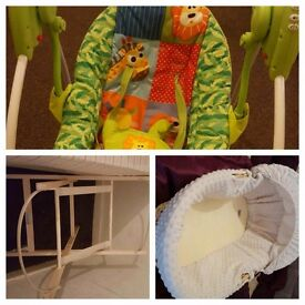 REDUCED Claire de lune moses basket with stand and baby swing
