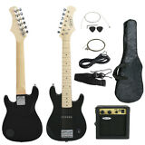 """Child Electric Guitar Kids 30"""" Black Guitar With Amp + Case + Strap and More"""