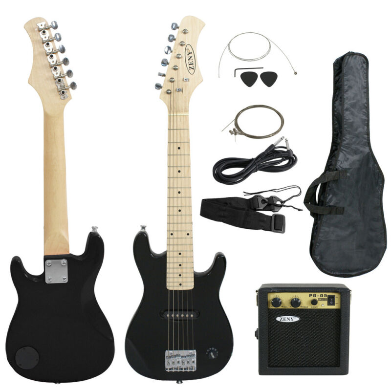 """Kids Beginner Guitar With Amp Case 30"""" Electric Guitar Accessories Pack Black"""
