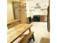 Freestanding industrial style kitchen solid timber tops