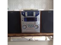 Aiwa music stereo system with speakers CD player mini disc tape iPod