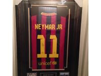 Signed sports memorabilia personally signed/framed neymar jr Barcelona football shirt