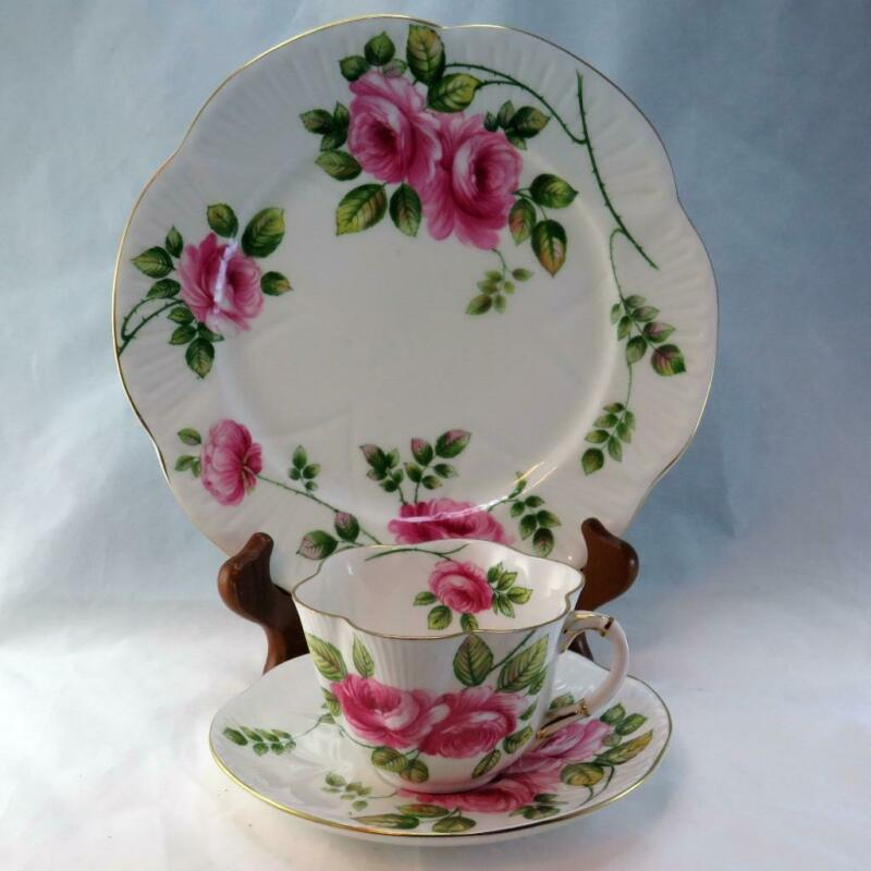"Vtg Shelley ""Rambler Rose"" Dainty Shaped Cup, Saucer & Plate Trio #13671 England"