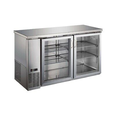 Peakcold 60 Glass 2 Door Back Bar Beverage Cooler Stainless Counter Height