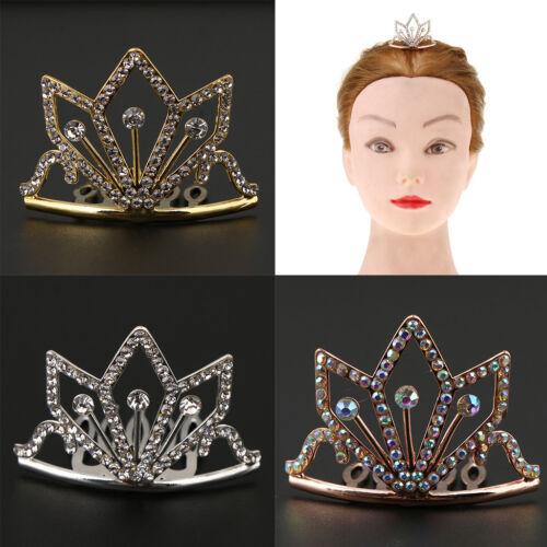 Mini Crown Rhinestone Tiara Comb Hair Clip Silver/Rose Gold/