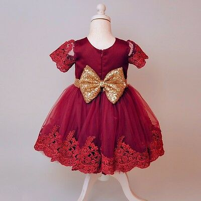 Kids Princess Christmas Party Dress Baby Toddler Girls Sequin Tutu Skirt Dress