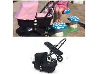 Immaculate bugaboo cameleon 3 and car seat black frame black or pink fabrics