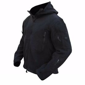 Kombat Recon Hoodie Fleece Military Army Style Special Forces Security Black