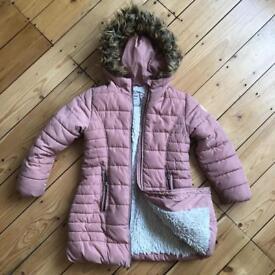 NEXT faux fur, pink padded winter jacket 5/6