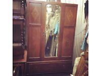 Reduced vintafe mirror fronted wardrobe