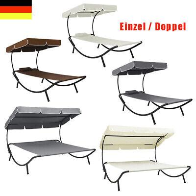 Outdoor Loungebett Stoff Einzel/Doppelliege Garten-Sonnenliege mit Sonnendach