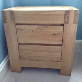 Solid oak bedside table, King size bed, wardrobe and draw set