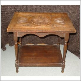 Solid Wood, Carved Side Table