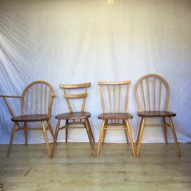 Mixed set of Vintage Ercol mid century chairs Windsor stacking