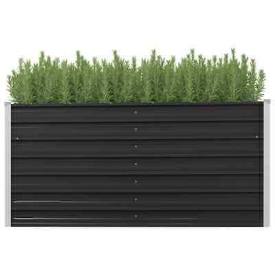 vidaXL Garden Planter Anthracite 160x40x77cm Galvanised Steel Raised Bed Pot