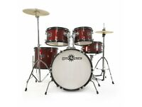 Junior 5 Piece Drum Kit by Gear4music, Wine Red *Open to offers*