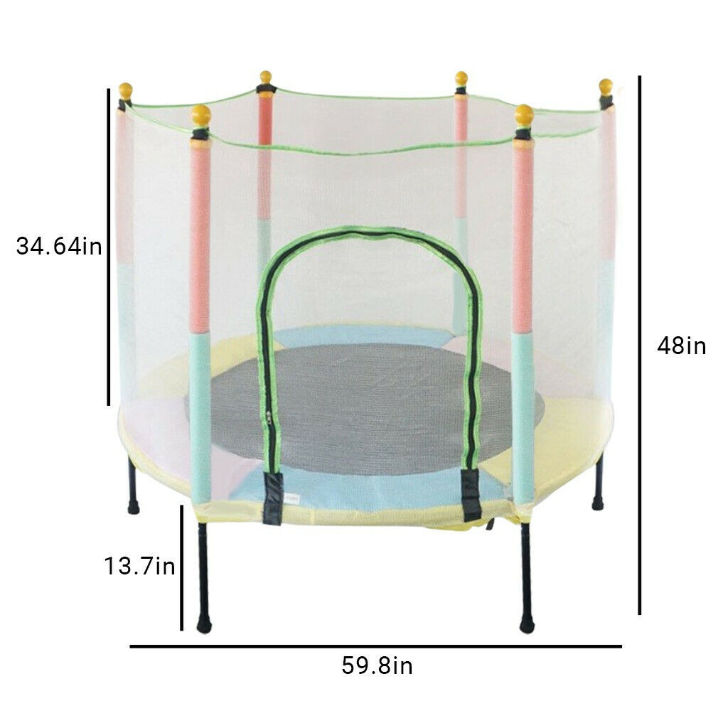 5FT Kids Mini Jumping Round Trampoline Exercise W/ Safety Pa