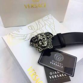 Dark grey silver matte buckle smooth soft hide black leather belt versace boxed