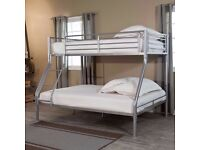 * SAVE 40 * MAXI SOLID METAL BUNK BED *SINGLE TOP DOUBLE BOTTOM + SAME DAY DELIVERY ALL OVER LONDON