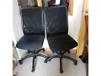 2 Office swivel chairs available with back support