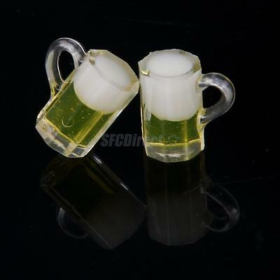 2Pcs 1:12 Dollhouse Beer Mugs Cup Plastic Dining Room Furniture Accessories