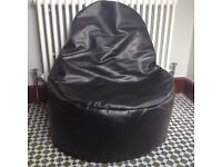 Black Faux Leather Beanbag