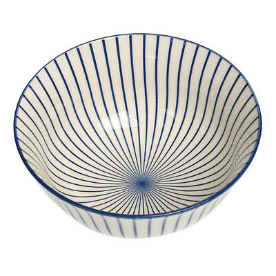 dotcomgiftshop LARGE FINE PORCELAIN JAPANESE BOWL COBALT SUNBURST DESIGN