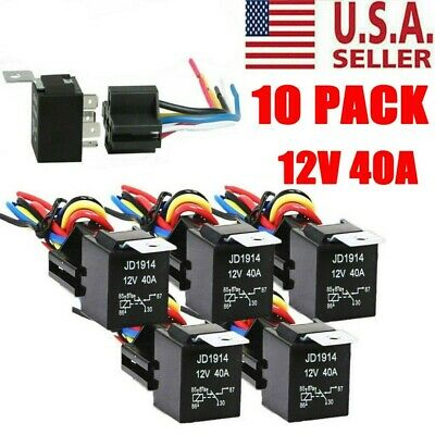 10pcs 3040 Amp 12v 5-pin Spdt Automotive Relay W Wires Harness Socket