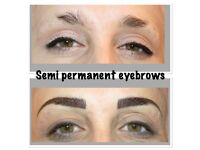 microblading £75, semi permanent makeup eyebrows £85, individual eyelas extensions from £40, 3d £50