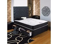 "DIVAN BED SET + 10"" MEMORY FOAM MATTRESS + PLAIN HEADBOARD (OPTIONAL COLOURS)"