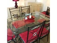 Solid iron wrought table & 6 chairs