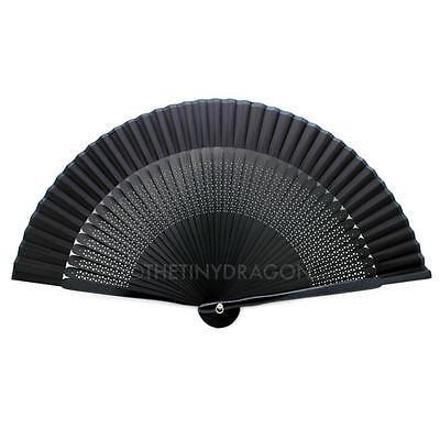 "BLACK SILK HAND FAN 7.75"" Bamboo Fabric HIGH QUALITY Folding Pocket Purse Solid"