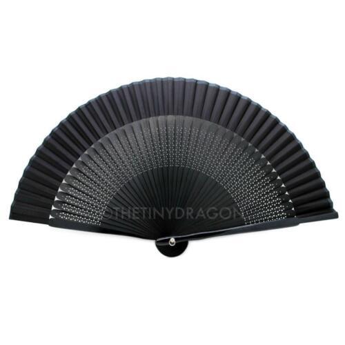 "BLACK SILK HAND FAN 7.75"" Bamboo Fabric HIGH QUALITY Folding"