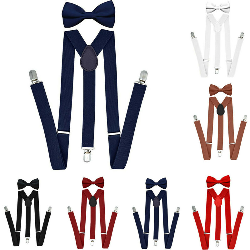 Unisex Adults&Kids Suspenders With Bowtie Set Adjustable Ela