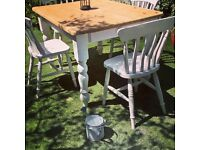 PINE FARMHOUSE TABLE 4 CHAIRS FREE DELIVERY
