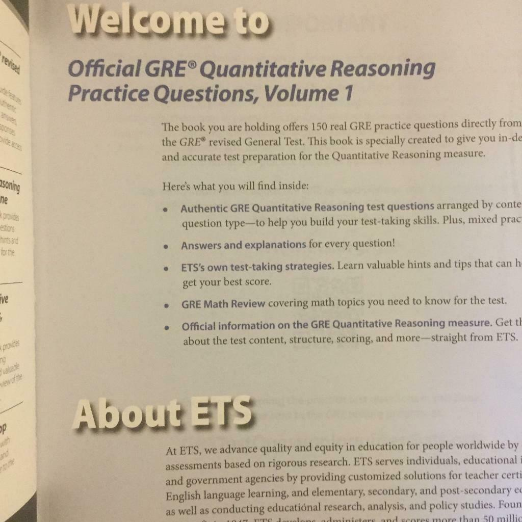 ETS GRE Verbal Reasoning and Quantitative Reasoning Practice Questions both  Volume 1 | in Barrhead, Glasgow | Gumtree