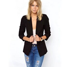New Look Classic Black Smart Tailored Open Suit Blazer Jacket size 12 Xmas Party